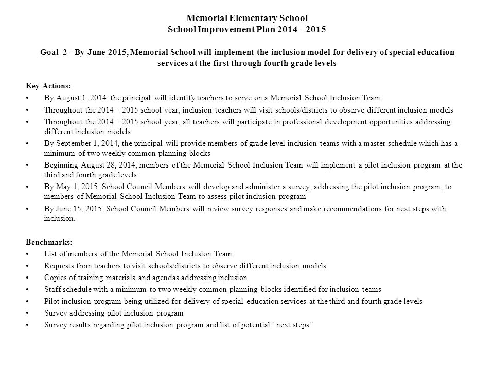 Memorial Elementary School School Improvement Plan 2014 – 2015 Goal 2 - By June 2015, Memorial School will implement the inclusion model for delivery