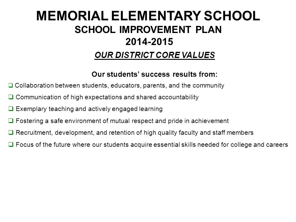 MEMORIAL ELEMENTARY SCHOOL SCHOOL IMPROVEMENT PLAN 2014-2015 District Strategic Objectives I.Instructional Excellence: We will provide a rigorous curriculum, a model of effective teaching that engages all students, and methods of student assessment that use multiple measures.