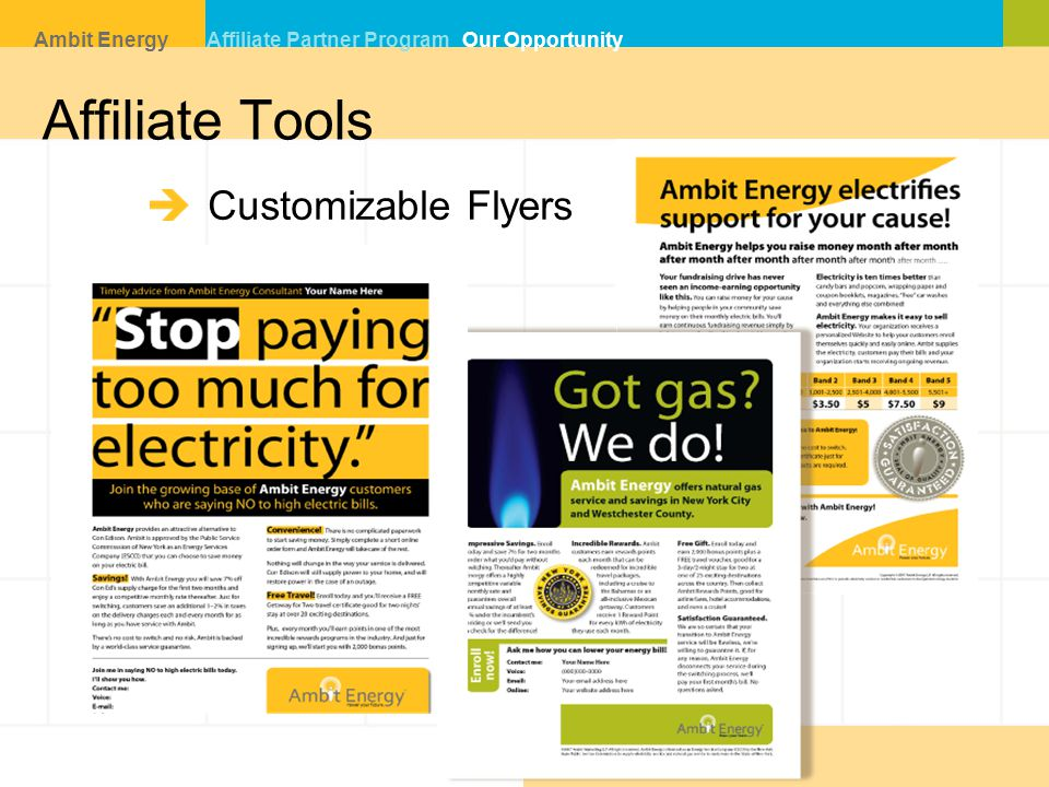 Affiliate Tools Customizable Flyers Ambit Energy Affiliate Partner Program Our Opportunity