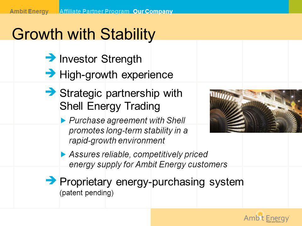 Growth with Stability Investor Strength Purchase agreement with Shell promotes long-term stability in a rapid-growth environment Assures reliable, competitively priced energy supply for Ambit Energy customers High-growth experience Strategic partnership with Shell Energy Trading Proprietary energy-purchasing system (patent pending) Ambit Energy Affiliate Partner Program Our Company