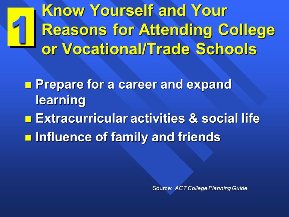Know Yourself and Your Reasons for Attending College or Vocational/Trade Schools n Prepare for a career and expand learning n Extracurricular activities & social life n Influence of family and friends 1 Source: ACT College Planning Guide