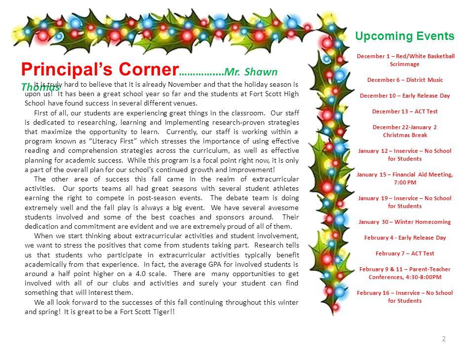 Parent Newsletter Fort Scott High School Winter 2014-2015