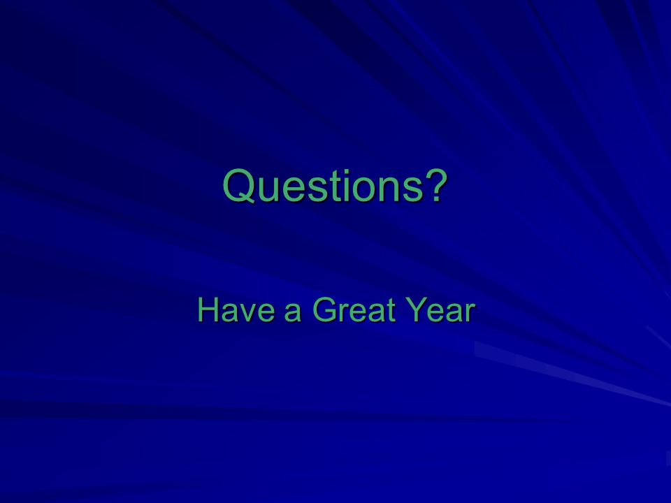 Questions? Have a Great Year
