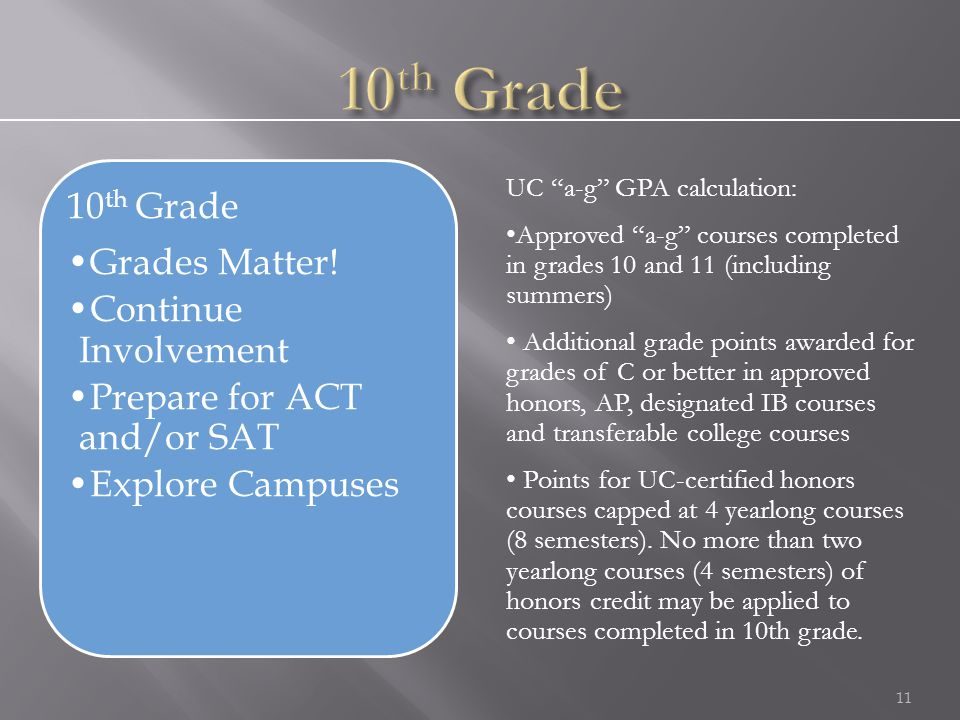 "11 UC ""a-g"" GPA calculation: Approved ""a-g"" courses completed in grades 10 and 11 (including summers) Additional grade points awarded for grades of C"