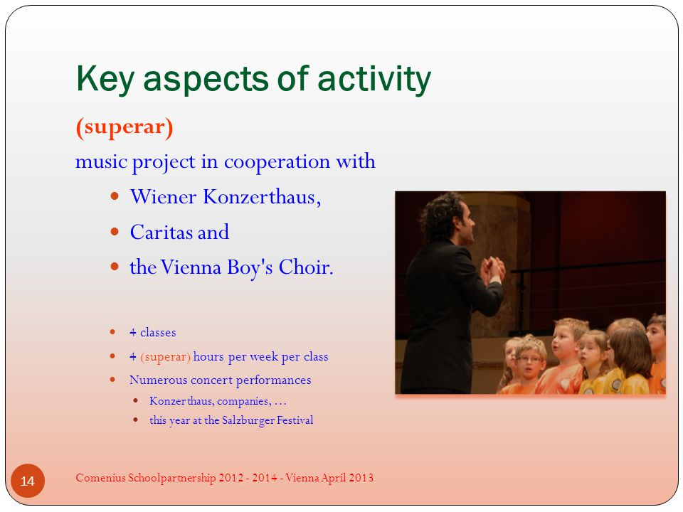 Key aspects of activity (superar) music project in cooperation with Wiener Konzerthaus, Caritas and the Vienna Boy s Choir.