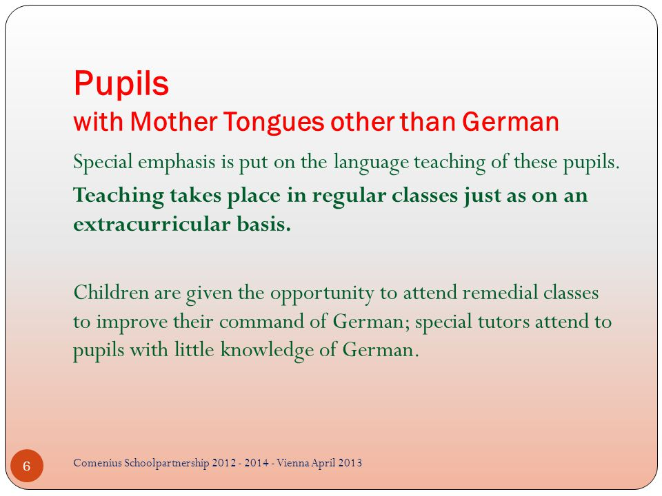 Pupils with Mother Tongues other than German Special emphasis is put on the language teaching of these pupils.