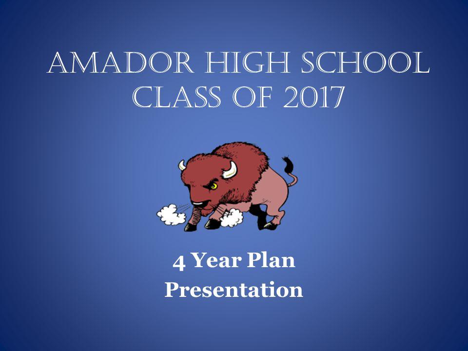 Amador High School Class of 2017 4 Year Plan Presentation