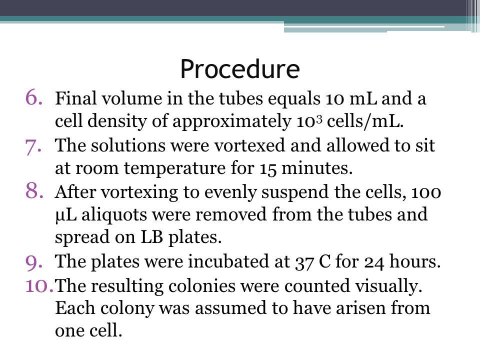 Procedure 6. Final volume in the tubes equals 10 mL and a cell density of approximately 10 3 cells/mL. 7. The solutions were vortexed and allowed to s