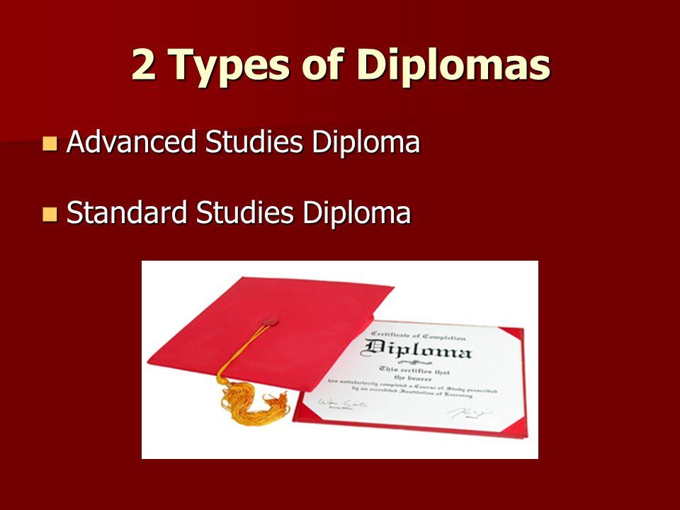2 Types of Diplomas Advanced Studies Diploma Advanced Studies Diploma Standard Studies Diploma Standard Studies Diploma