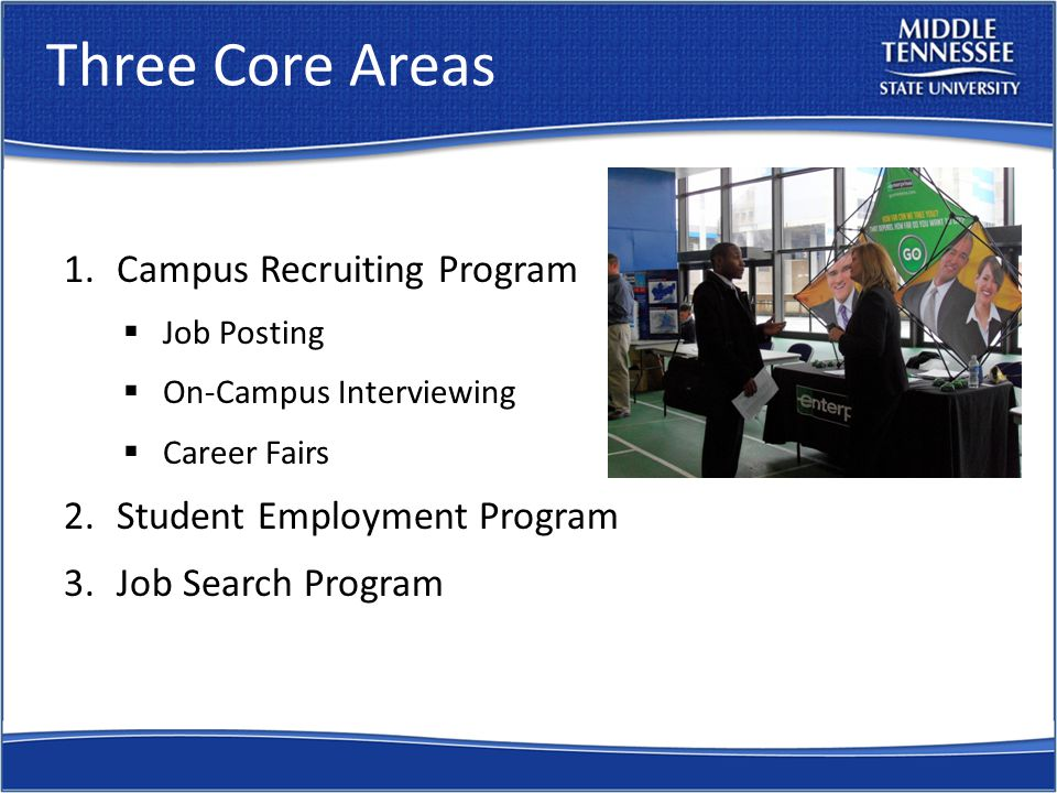 Three Core Areas 1.Campus Recruiting Program  Job Posting  On-Campus Interviewing  Career Fairs 2.Student Employment Program 3.Job Search Program