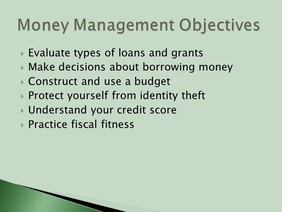  Evaluate types of loans and grants  Make decisions about borrowing money  Construct and use a budget  Protect yourself from identity theft  Understand your credit score  Practice fiscal fitness