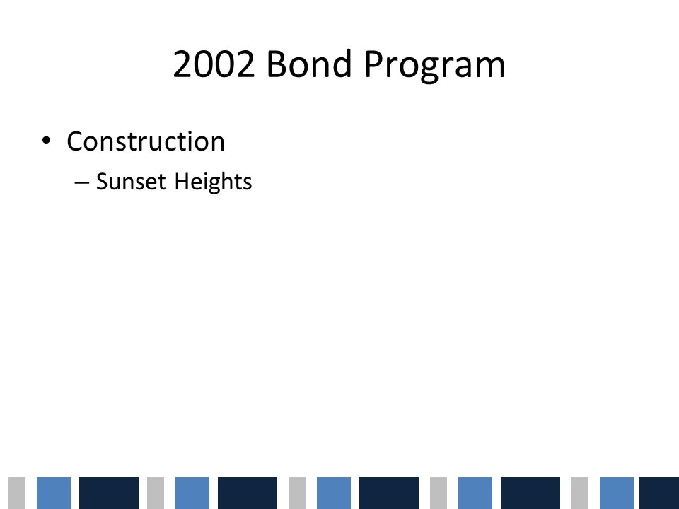 2005 Bond Program Bond ProjectsEstimated Costs Construct new schools and renovate and improve instructional and operational buildings and infrastructure at existing elementary schools $45,000,000 Renovate and improve instructional and operational buildings and infrastructure at Peoria High School $29,000,000 Construct additions to instructional and operational buildings and facilities at High School #7 $8,000,000 Renovate and improve instructional and operational buildings and infrastructure at other high schools $20,500,000 Complete construction of Transportation & Support Services Facility and acquire pupil transportation vehicles $10,000,000 Provide for infrastructure related to instructional and operational technology and communications needs $8,000,000 Total Bond Authorization$120,500,000