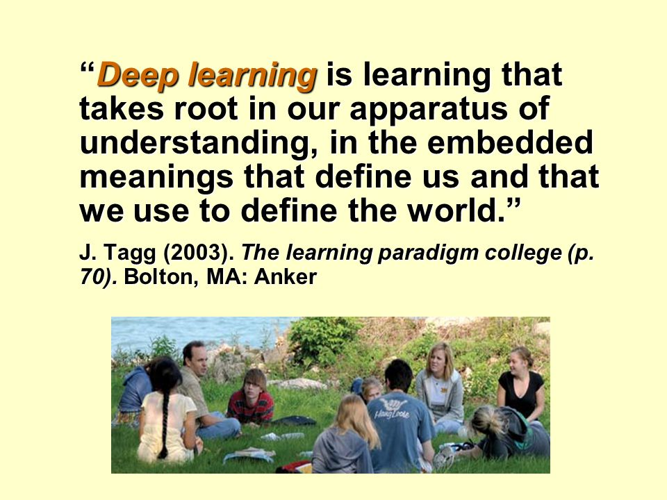 Deep, Integrative Learning Deep, Integrative Learning  Attend to the underlying meaning of information as well as content  Integrate and synthesize different ideas, sources of information  Discern patterns in evidence or phenomena  Apply knowledge in different situations  View issues from multiple perspectives