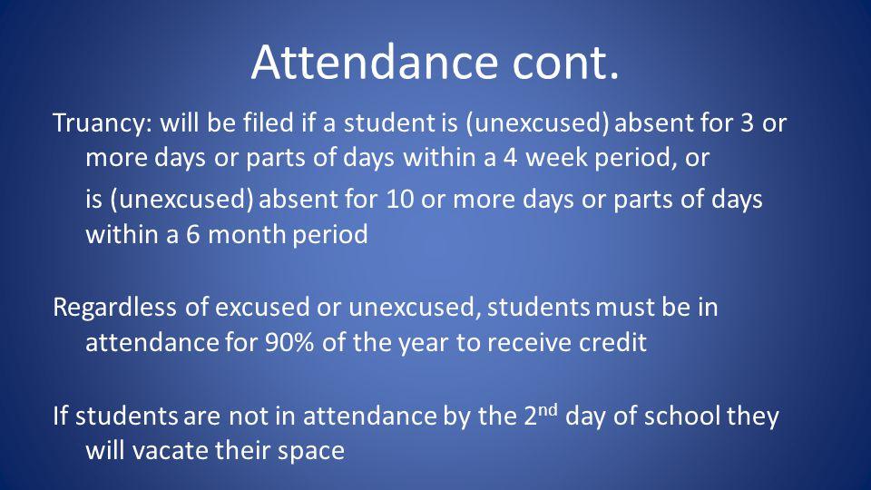 Attendance cont.