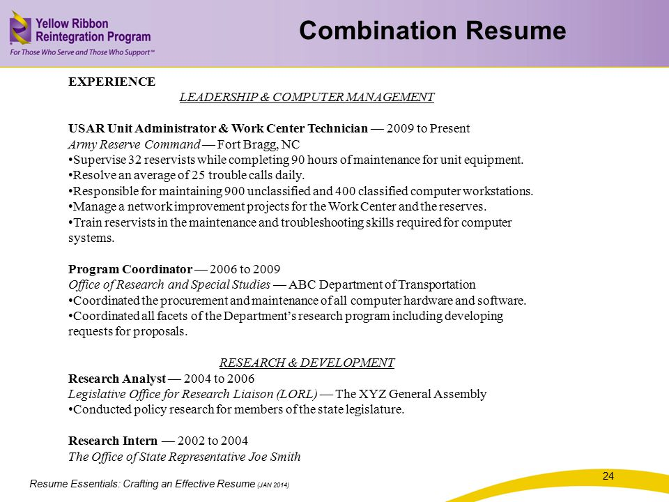 Resume Essentials: Crafting an Effective Resume (JAN 2014) EXPERIENCE LEADERSHIP & COMPUTER MANAGEMENT USAR Unit Administrator & Work Center Technicia