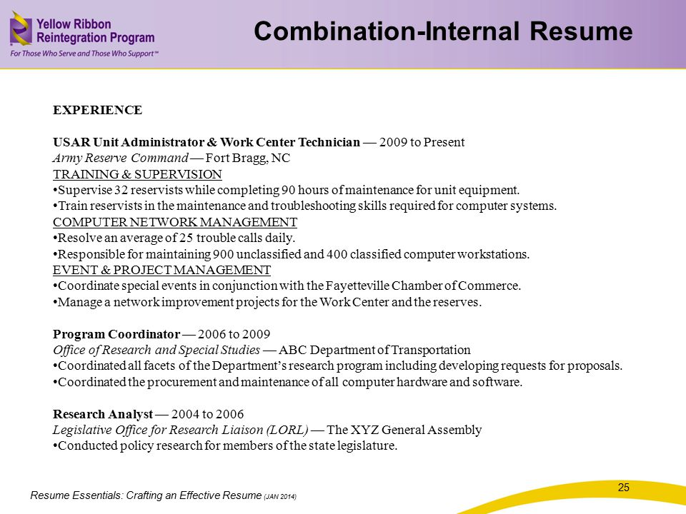 Resume Essentials: Crafting an Effective Resume (JAN 2014) EXPERIENCE USAR Unit Administrator & Work Center Technician — 2009 to Present Army Reserve