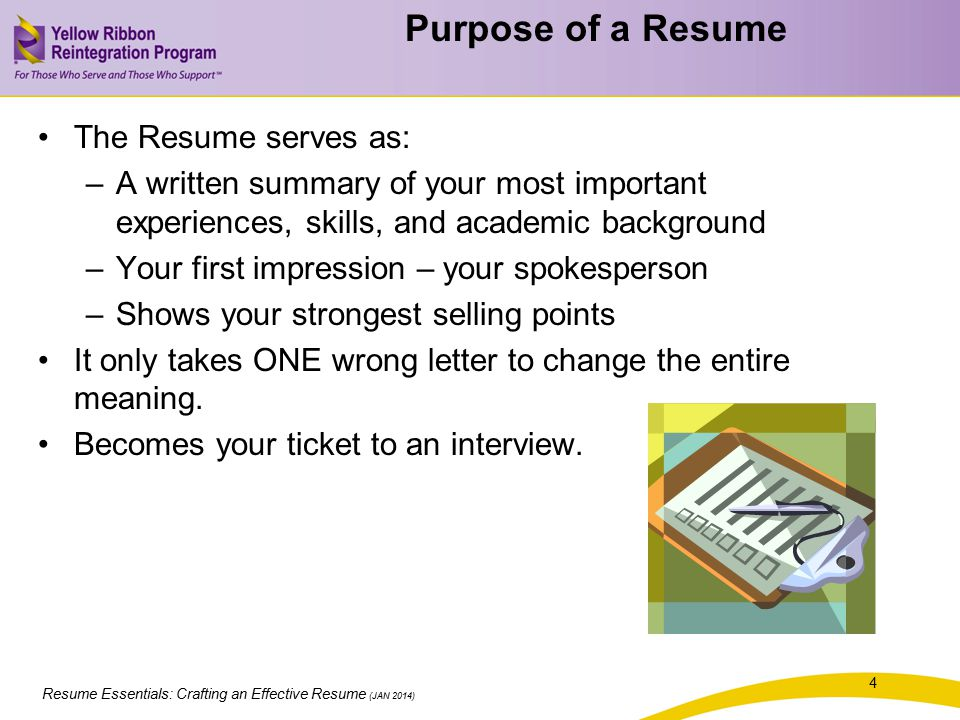 Resume Essentials: Crafting an Effective Resume (JAN 2014) Crafting Your Resume 35 Pair up with the same person you worked with on the Selling Points Exercise.