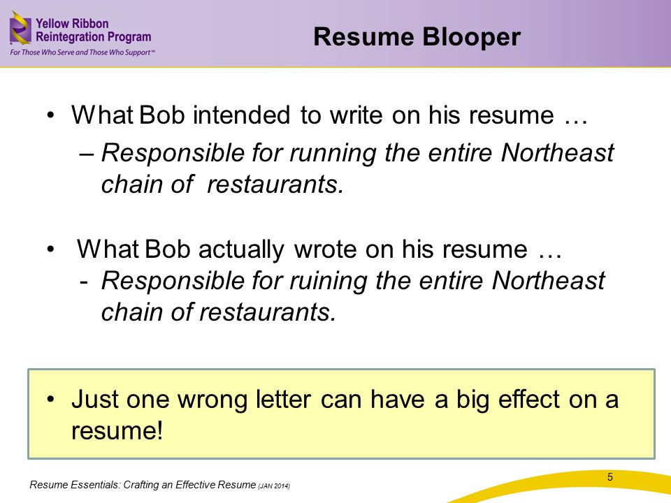 Resume Essentials: Crafting an Effective Resume (JAN 2014) * I am very detail-oreinted. I have a bachelorette degree in computers. Graduated in the top 66% of my class. I worked as a Corporate Lesion. Served as assistant sore manager. Married, eight children.