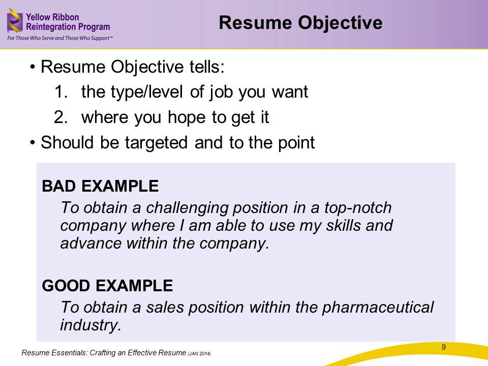 Resume Essentials: Crafting an Effective Resume (JAN 2014) Selling Points Exercise With a partner: 1.Share one of the top jobs you plan on pursuing 2.Discuss and identify your most relevant experiences, skills, and educational background based on the job you're pursuing 3.Discuss and identify the general work skills and qualities on NACE's list that you possess the most 20