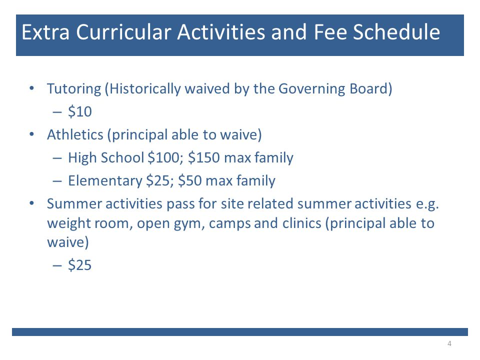 Tutoring (Historically waived by the Governing Board) – $10 Athletics (principal able to waive) – High School $100; $150 max family – Elementary $25; $50 max family Summer activities pass for site related summer activities e.g.