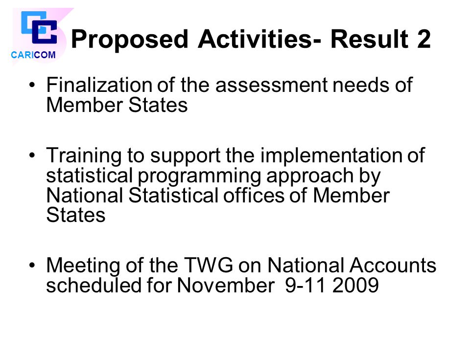 Proposed Activities- Result 2 Finalization of the assessment needs of Member States Training to support the implementation of statistical programming