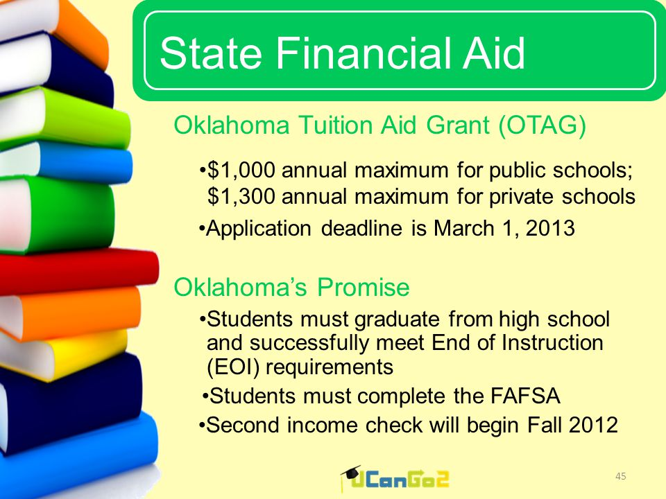 UCanGo2 State Financial Aid 45 Oklahoma Tuition Aid Grant (OTAG) $1,000 annual maximum for public schools; $1,300 annual maximum for private schools Application deadline is March 1, 2013 Oklahoma's Promise Students must graduate from high school and successfully meet End of Instruction (EOI) requirements Students must complete the FAFSA Second income check will begin Fall 2012