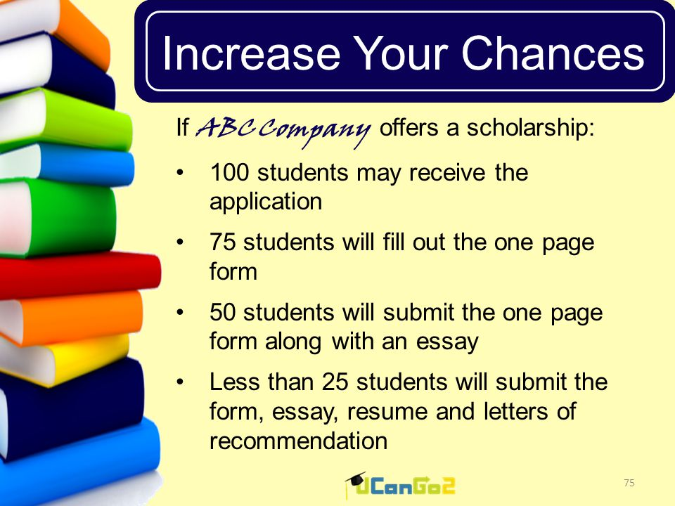 UCanGo2 Increase Your Chances 75 If ABC Company offers a scholarship: 100 students may receive the application 75 students will fill out the one page form 50 students will submit the one page form along with an essay Less than 25 students will submit the form, essay, resume and letters of recommendation