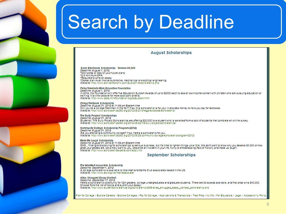 UCanGo2 Search by Deadline 9