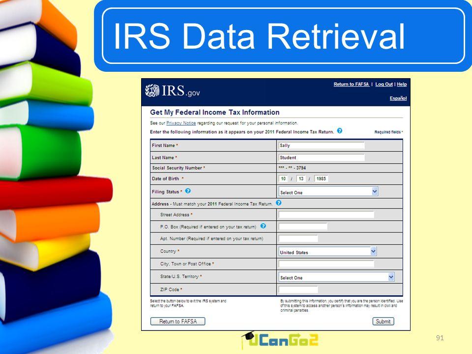 UCanGo2 IRS Data Retrieval 91