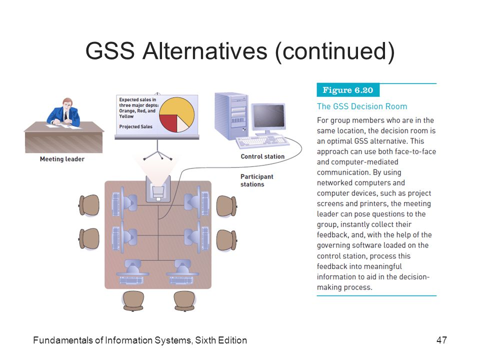 GSS Alternatives (continued) Fundamentals of Information Systems, Sixth Edition47