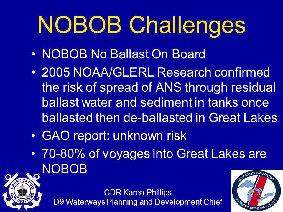 CDR Karen Phillips D9 Waterways Planning and Development Chief NOBOB INITIATIVES Great Lakes Waterways Management Forum Ballast Water Working Group –St.