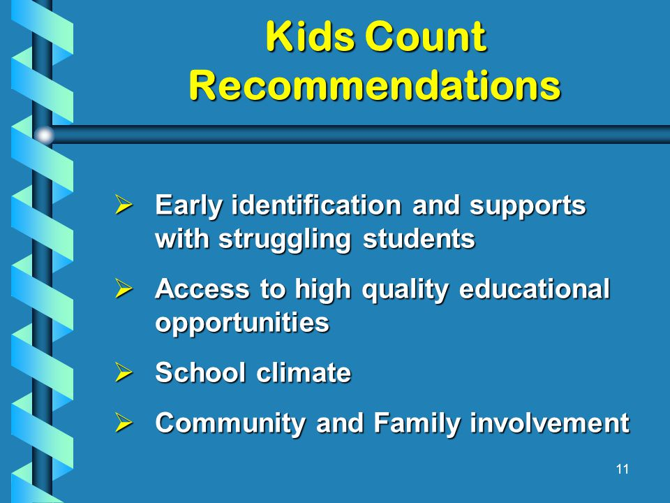 Kids Count Recommendations  Early identification and supports with struggling students  Access to high quality educational opportunities  School climate  Community and Family involvement 11