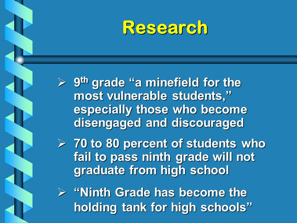  9 th grade a minefield for the most vulnerable students, especially those who become disengaged and discouraged  70 to 80 percent of students who fail to pass ninth grade will not graduate from high school  Ninth Grade has become the holding tank for high schools Research