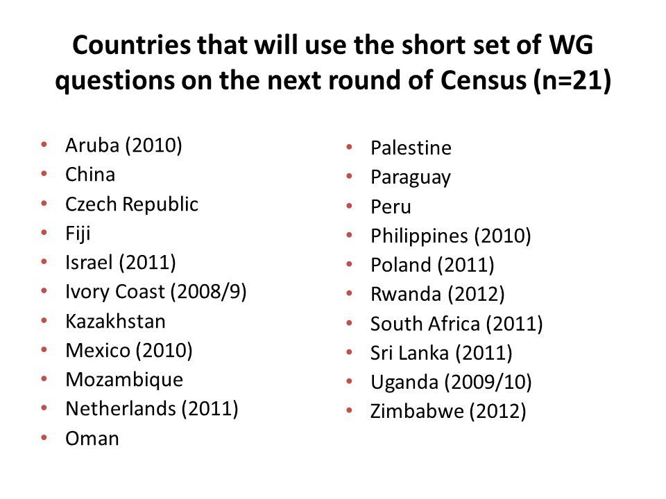 Countries that will use the short set of WG questions on the next round of Census (n=21) Aruba (2010) China Czech Republic Fiji Israel (2011) Ivory Co