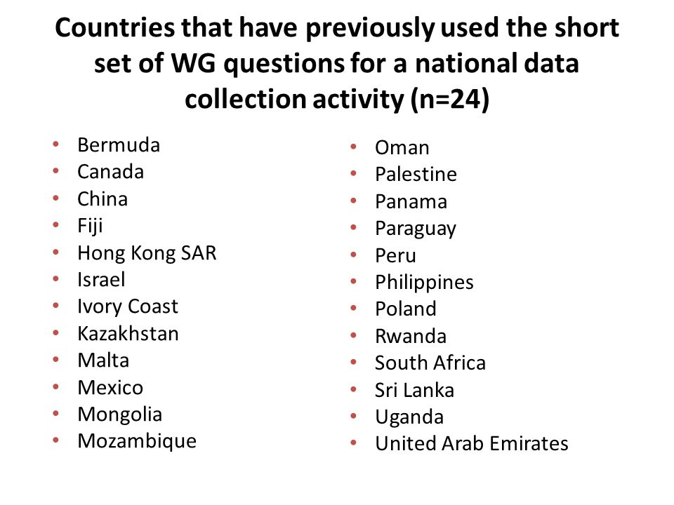 Countries that have previously used the short set of WG questions for a national data collection activity (n=24) Bermuda Canada China Fiji Hong Kong S