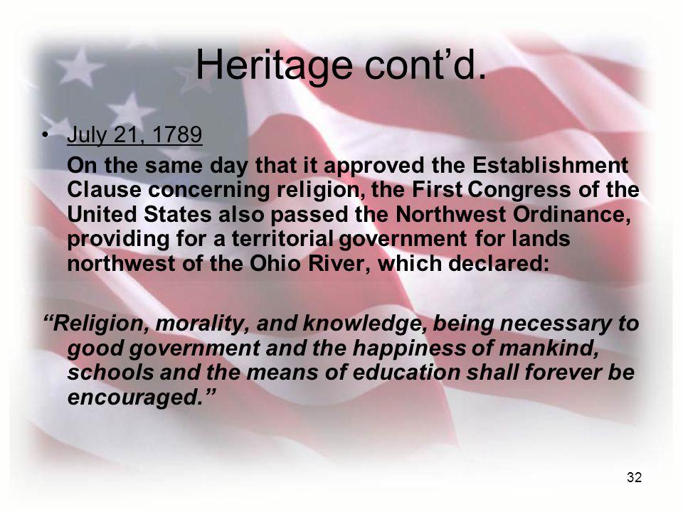 32 Heritage cont'd.