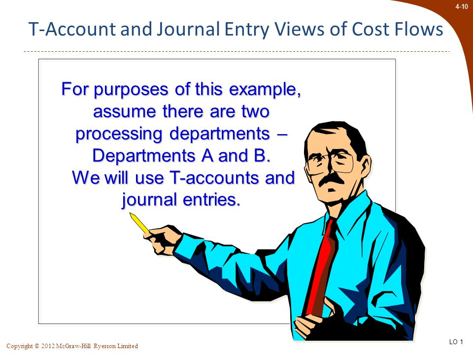 4-10 Copyright © 2012 McGraw-Hill Ryerson Limited T-Account and Journal Entry Views of Cost Flows For purposes of this example, assume there are two processing departments – Departments A and B.