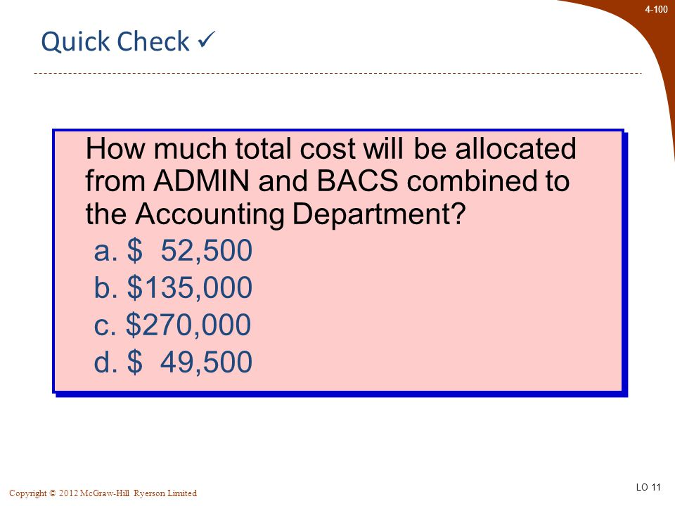 4-100 Copyright © 2012 McGraw-Hill Ryerson Limited Quick Check How much total cost will be allocated from ADMIN and BACS combined to the Accounting Department.