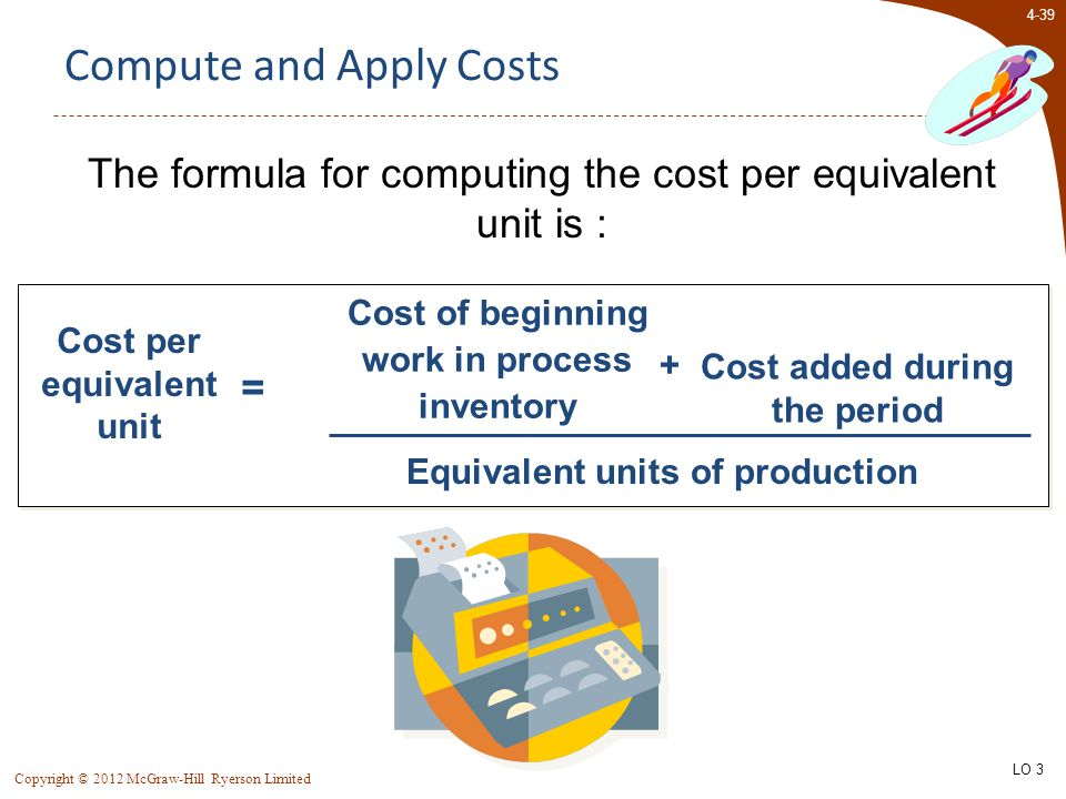 4-39 Copyright © 2012 McGraw-Hill Ryerson Limited Compute and Apply Costs The formula for computing the cost per equivalent unit is : Cost per equivalent unit = Cost of beginning work in process inventory Cost added during the period Equivalent units of production + LO 3