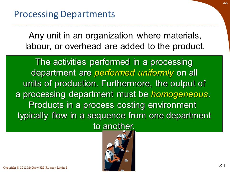4-6 Copyright © 2012 McGraw-Hill Ryerson Limited Processing Departments Any unit in an organization where materials, labour, or overhead are added to