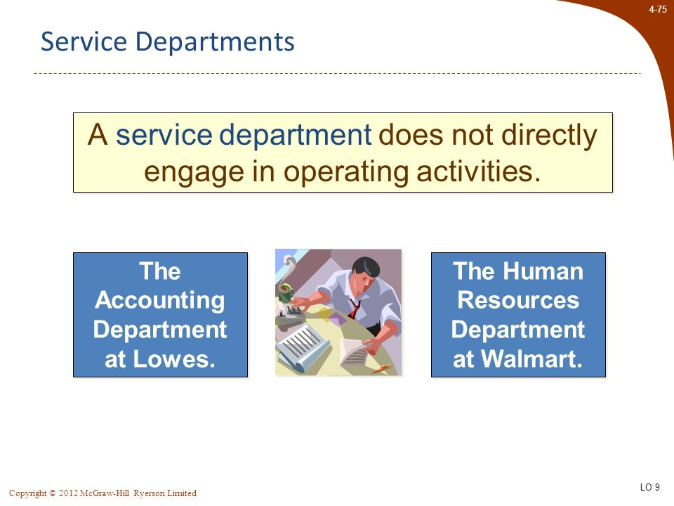 4-75 Copyright © 2012 McGraw-Hill Ryerson Limited Service Departments A service department does not directly engage in operating activities. The Accou