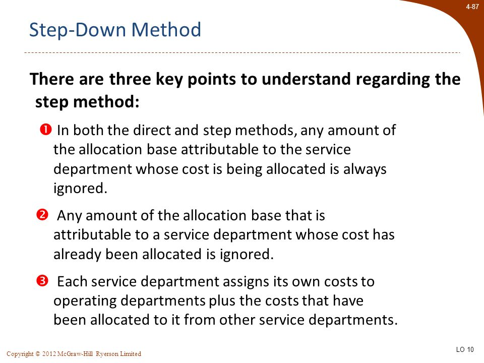 4-87 Copyright © 2012 McGraw-Hill Ryerson Limited Step-Down Method There are three key points to understand regarding the step method:  In both the direct and step methods, any amount of the allocation base attributable to the service department whose cost is being allocated is always ignored.