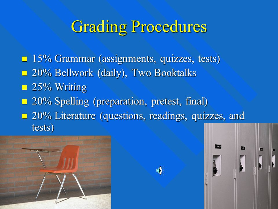 Academic Grading for English Grading is achieved on a point system Grading is achieved on a point system Points are deducted for: Late Assignments, lack of Preparation, Incomplete work.