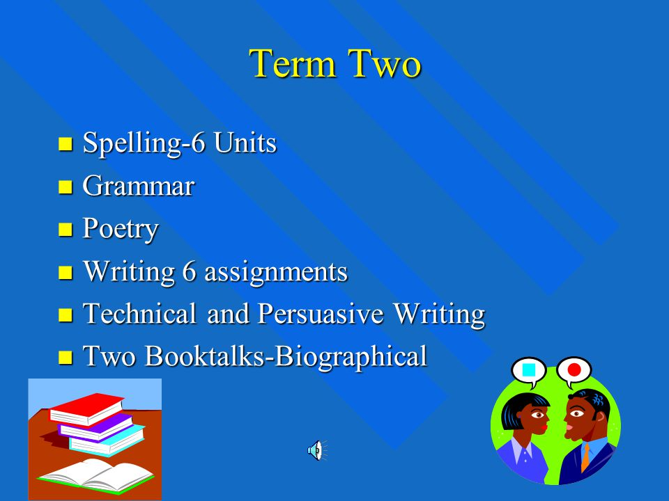 Term One Spelling-6 units Spelling-6 units Grammar Grammar Novel-To Kill a Mockingbird Novel-To Kill a Mockingbird Writing-6 assignments Writing-6 assignments Descriptive and Narrative Writing Descriptive and Narrative Writing Two Booktalks-Historical Two Booktalks-Historical