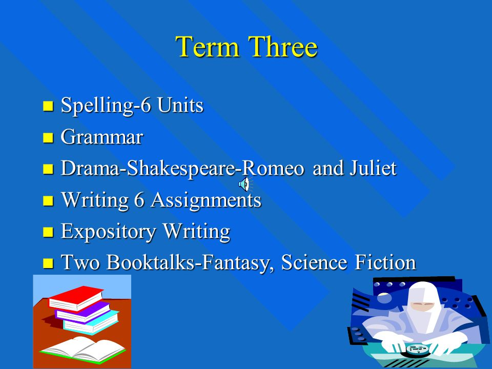Term Two Spelling-6 Units Spelling-6 Units Grammar Grammar Poetry Poetry Writing 6 assignments Writing 6 assignments Technical and Persuasive Writing Technical and Persuasive Writing Two Booktalks-Biographical Two Booktalks-Biographical