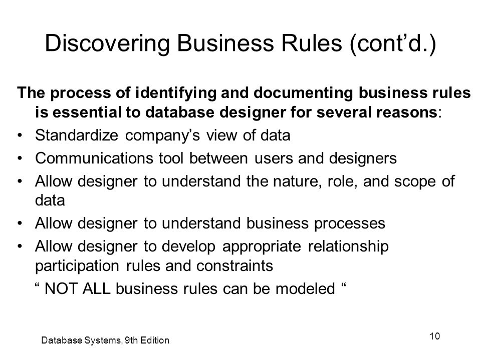 10 Discovering Business Rules (cont'd.) The process of identifying and documenting business rules is essential to database designer for several reason
