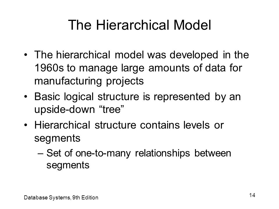 14 The Hierarchical Model The hierarchical model was developed in the 1960s to manage large amounts of data for manufacturing projects Basic logical s