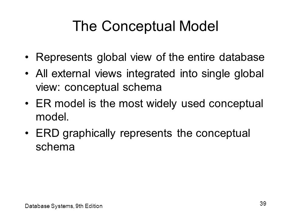 39 The Conceptual Model Represents global view of the entire database All external views integrated into single global view: conceptual schema ER mode