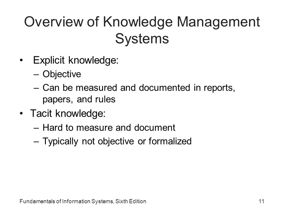 Fundamentals of Information Systems, Sixth Edition11 Overview of Knowledge Management Systems Explicit knowledge: –Objective –Can be measured and docu