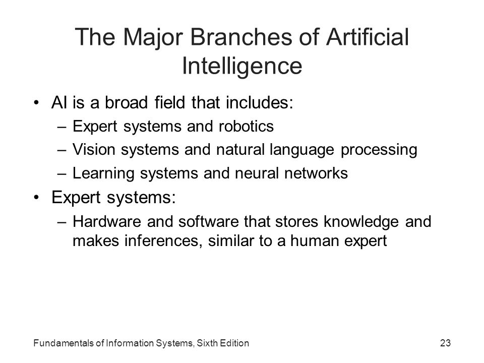 Fundamentals of Information Systems, Sixth Edition23 The Major Branches of Artificial Intelligence AI is a broad field that includes: –Expert systems